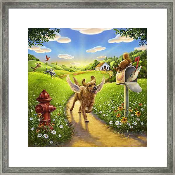 Dog Heaven With Wings Framed Print