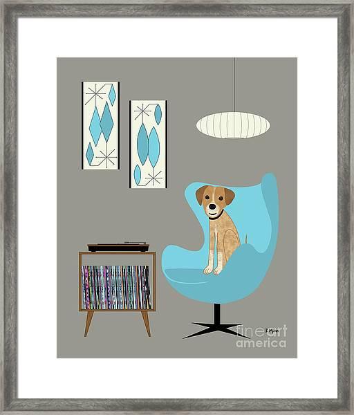 Dog In Egg Chair Framed Print