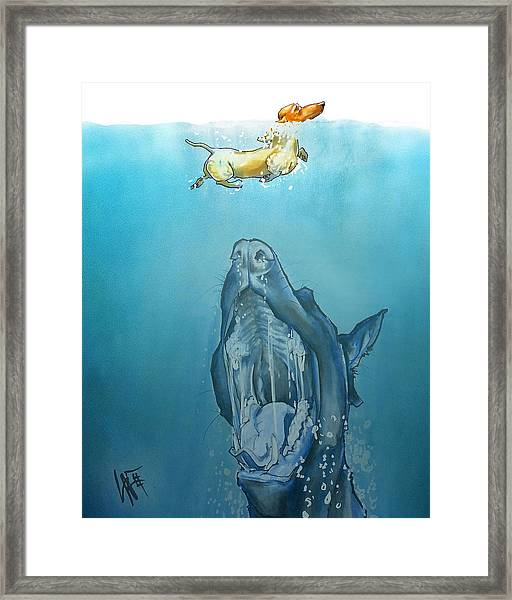 Dog-themed Jaws Caricature Art Print Framed Print