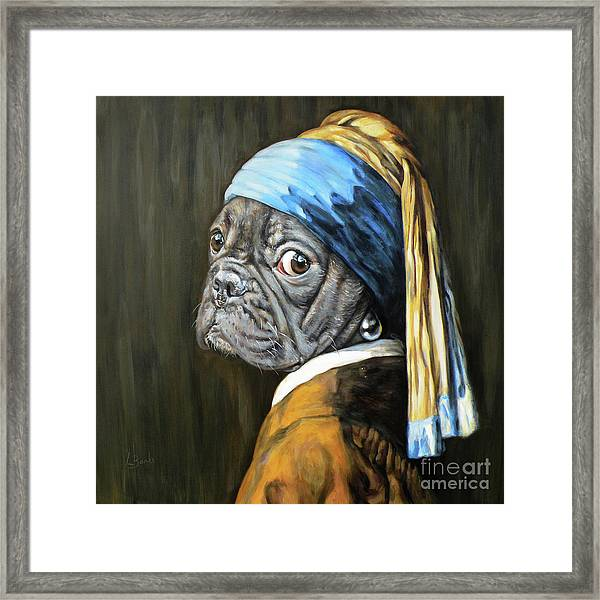 Dog With A Pearl Earring Framed Print