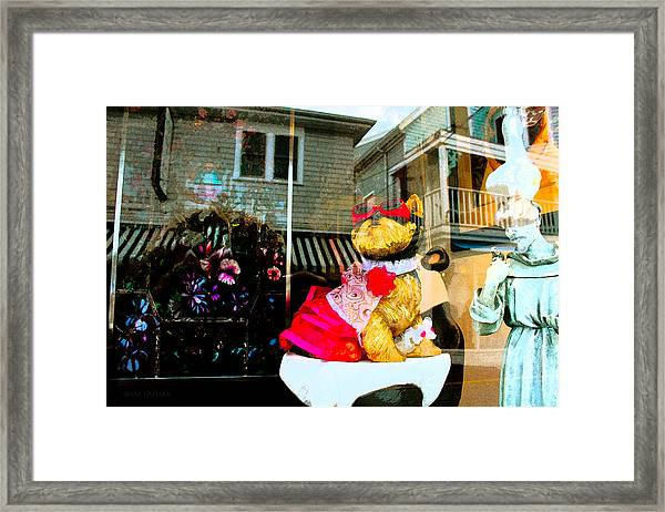 Doggie In The Window Framed Print