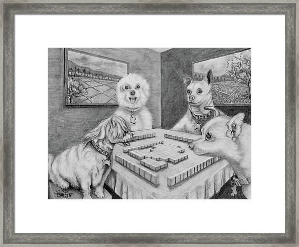 Dogs Playing Mahjong Framed Print