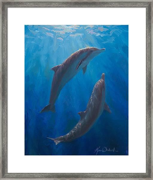 Dolphin Dance - Underwater Whales - Ocean Art - Coastal Decor Framed Print