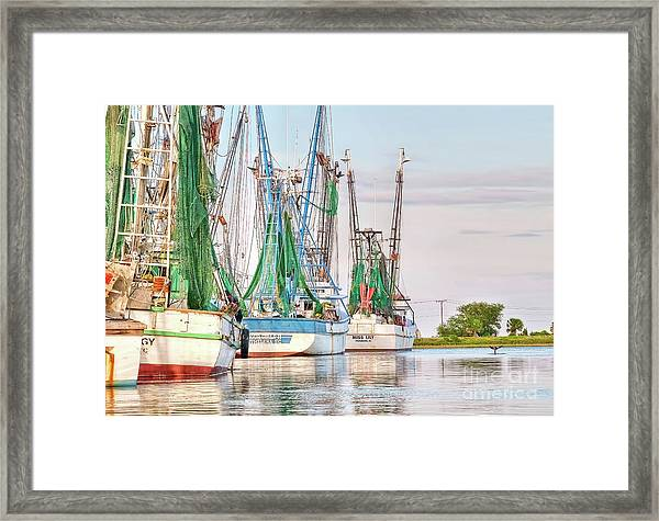 Dolphin Tail - Docked Shrimp Boats Framed Print