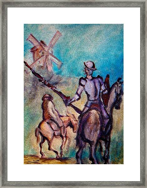 Don Quixote With Windmill Framed Print