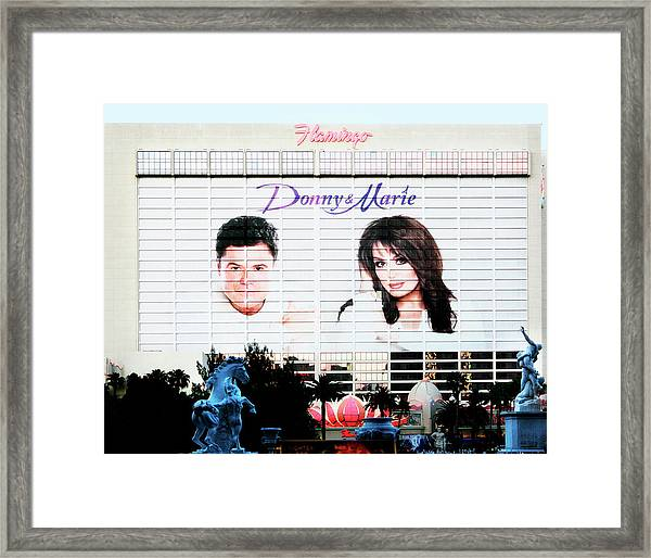 Donny And Marie Osmond Large Ad On Hotel Framed Print