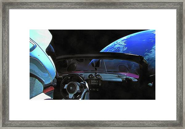 Dont Panic - Tesla In Space Framed Print