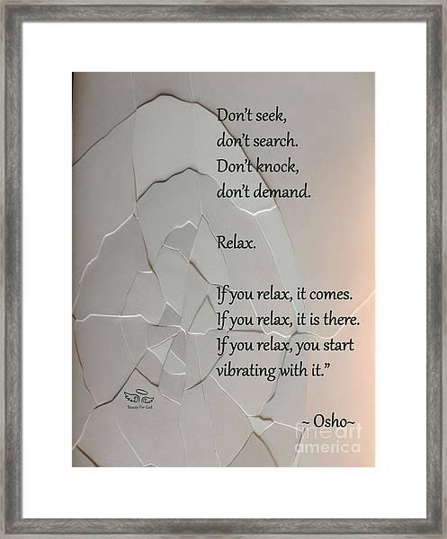 Don't Seek Framed Print