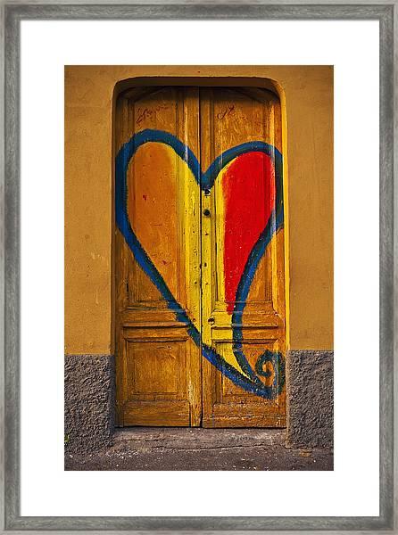 Door With Heart Framed Print