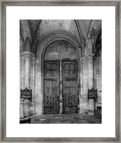 Framed Print featuring the photograph Poissy, France - Doors From Within, Notre-dame De Poissy by Mark Forte