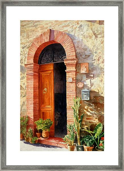 Doorway In Tuscany Number 2 Framed Print by Bob Nolin