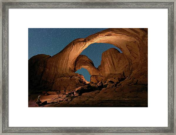 Double Arch And The Milky Way - Arches National Park - Moab, Utah By Olena Art - Brand  Framed Print