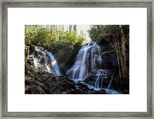 Double Falls Framed Print