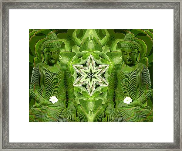 Double Green Buddhas Framed Print