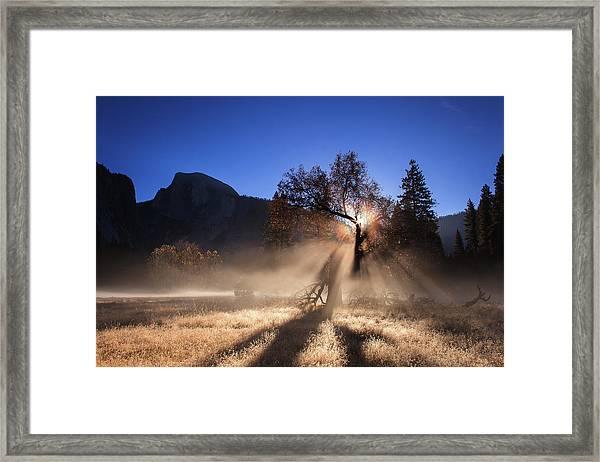 Double Ice Fog Rainbow In Yosemite Valley Framed Print