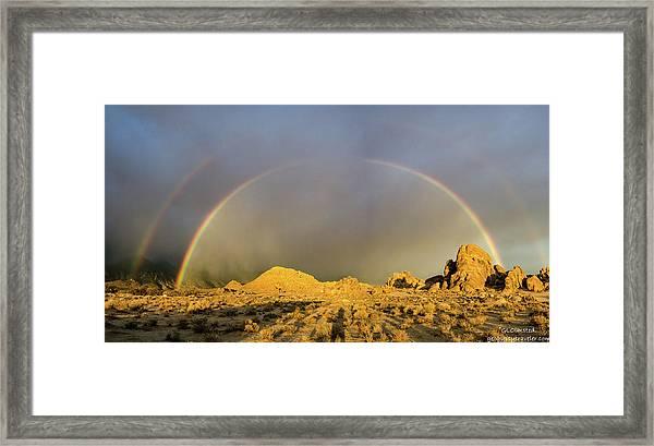 Double Rainbow Gold Framed Print