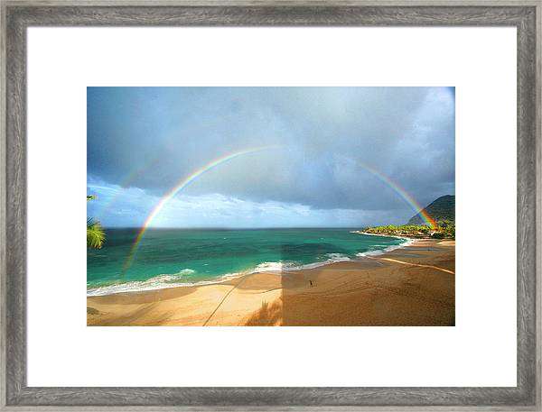 Double Rainbow Over Turtle Beach Framed Print