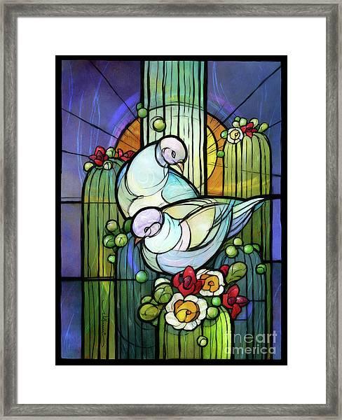 Doves On Saguaro Framed Print
