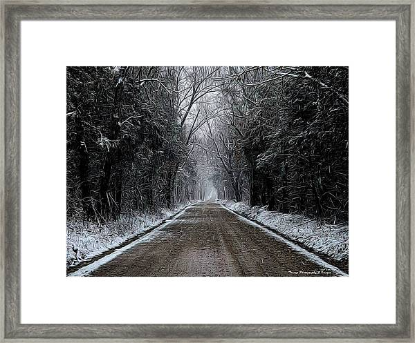 Down The Winter Road Framed Print