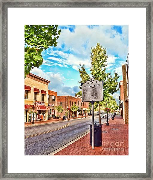 Downtown Blacksburg With Historical Marker Framed Print