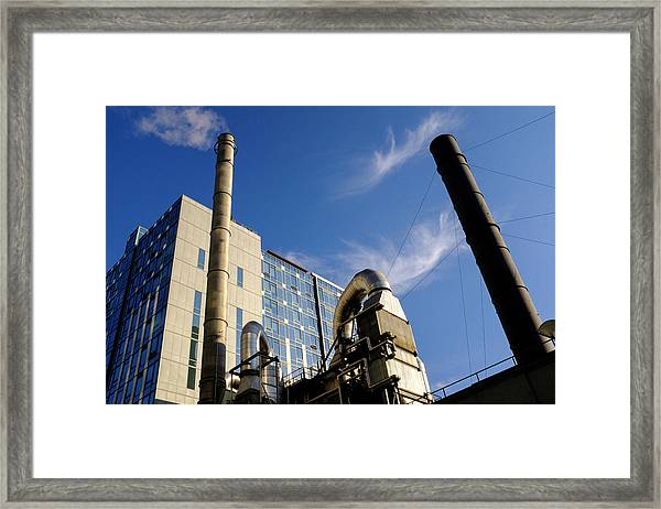 Downtown Buildings And Factory In Seattle Washington Framed Print