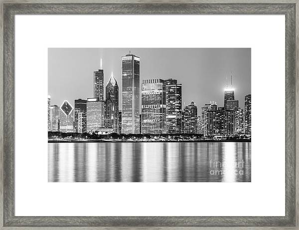 Downtown Chicago Skyline Black And White Photo Framed Print