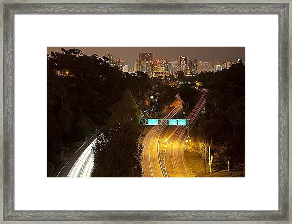 Downtown From El Prado Framed Print