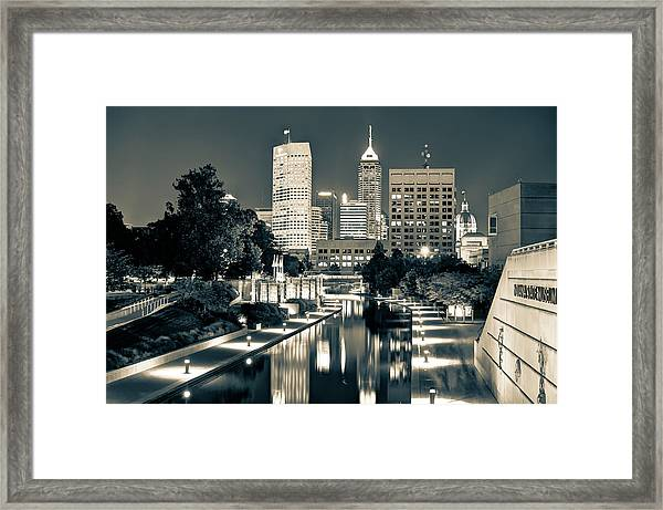 Downtown Indianapolis Indiana Skyline In Sepia Framed Print