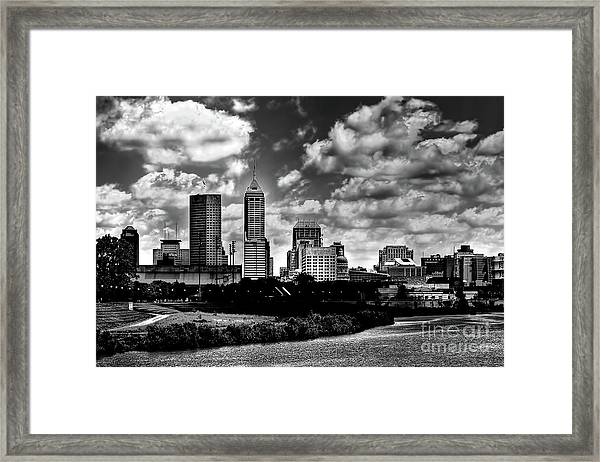 Downtown Indianapolis Skyline Black And White Framed Print