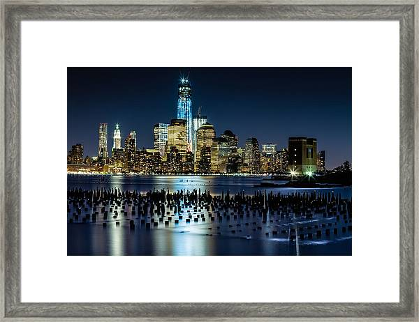 Downtown Manhattan And Old Pier Remains Framed Print
