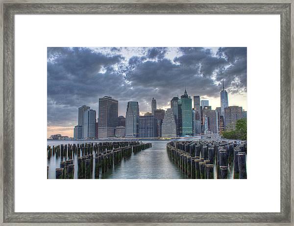 Downtown Manhattan Framed Print by Zev Steinhardt