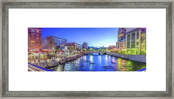 Downtown Reno Summer Twilight Framed Print