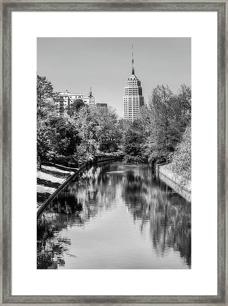 Downtown San Antonio Skyline On The River In Black And White Framed Print