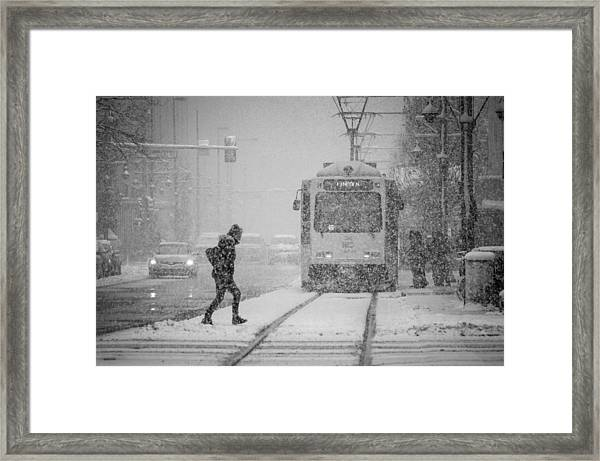 Downtown Snow Storm Framed Print