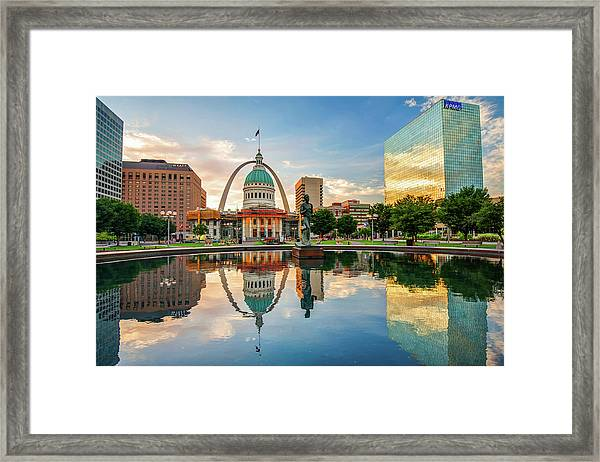 Downtown St. Louis Skyline Morning Sunrise Reflections Framed Print