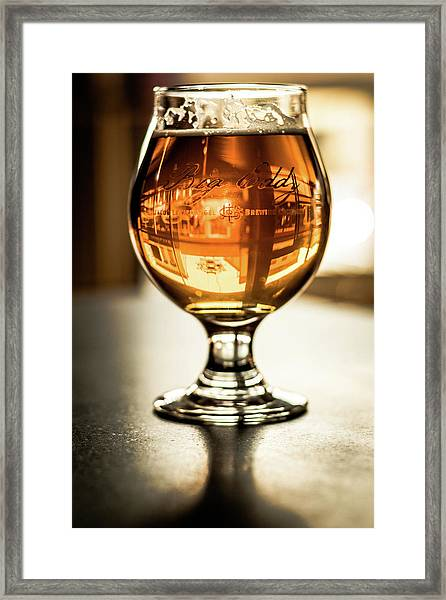 Downtown Waukesha Through A Glass Of Beer At Bernie's Taproom Framed Print