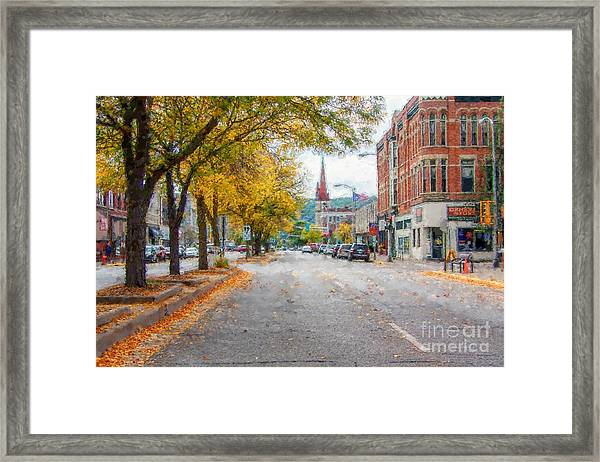 Framed Print featuring the photograph Downtown Winona Painting Effect by Kari Yearous
