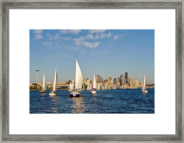 Downtwon Seattle Waterfront Framed Print by Tom Dowd