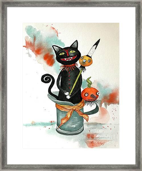 Dracula Vintage Cat Framed Print