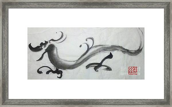 Dragon In Black Ink Framed Print
