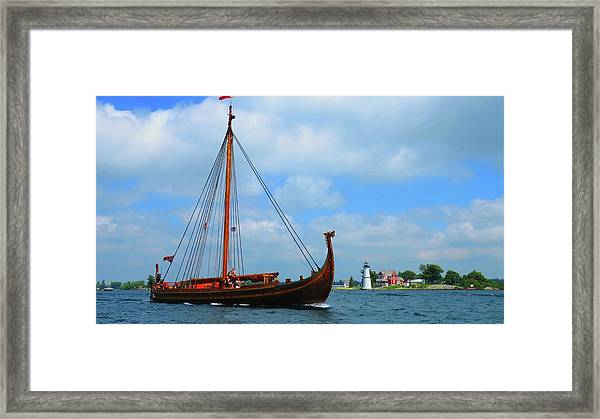 The Draken Passing Rock Island Framed Print