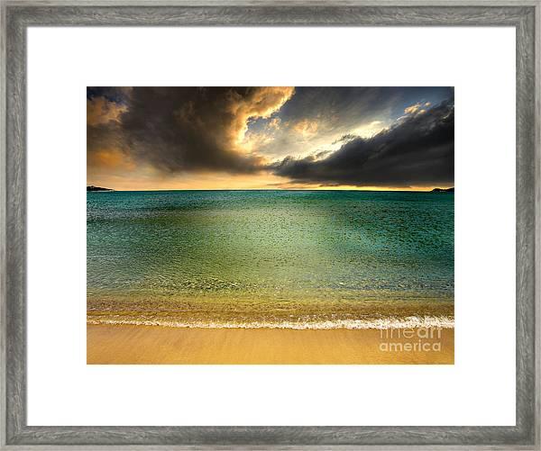 Drama At The Beach Framed Print