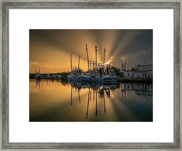 Dramatic Bayou Sunset Framed Print