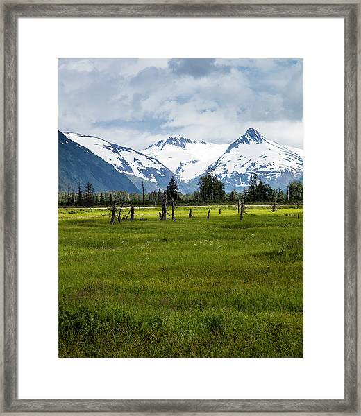 Dramatic Mountains Over A Meadow Framed Print