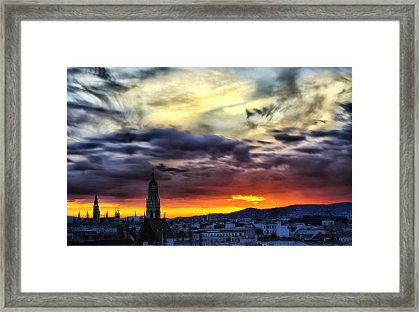 Dramatic Sunset Clouds Over Vienna Framed Print