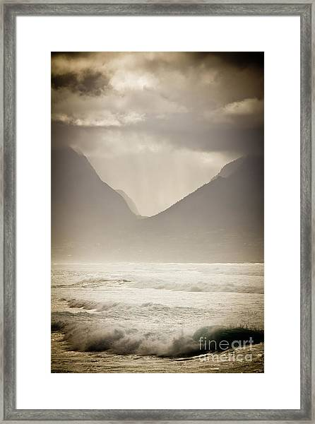 Dramatic Sunset On Maui Hawaii Iao Valley Framed Print by Denis Dore