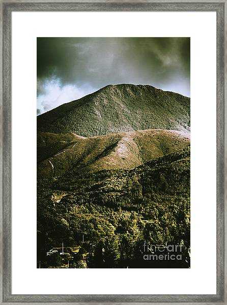Dramatic View On Mount Zeehan Against Stormy Cloud Framed Print