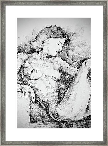 Drawing Beautiful Girl Figure Framed Print