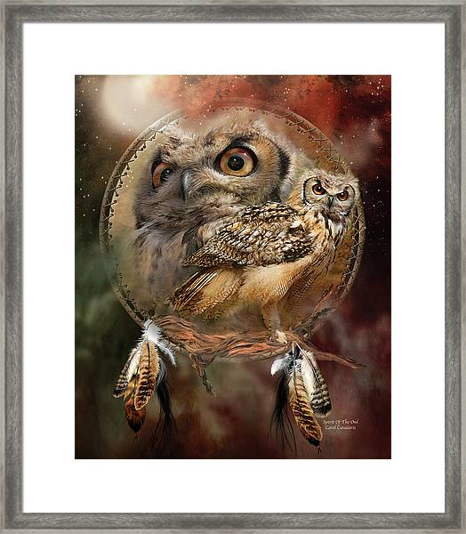 Dream Catcher - Spirit Of The Owl Framed Print