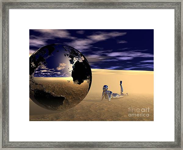 Framed Print featuring the digital art Dreaming Of Other Worlds by Sandra Bauser Digital Art